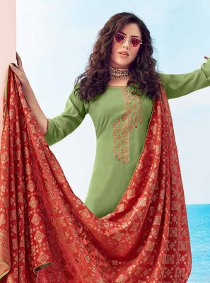 Green Thread Muslin Bollywood Salwar Kameez