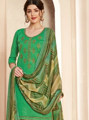 Green Thread Reception Salwar Suit
