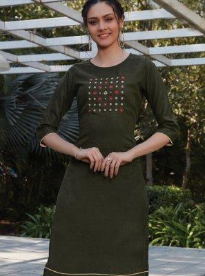 Green Thread Work Cotton Designer Kurti