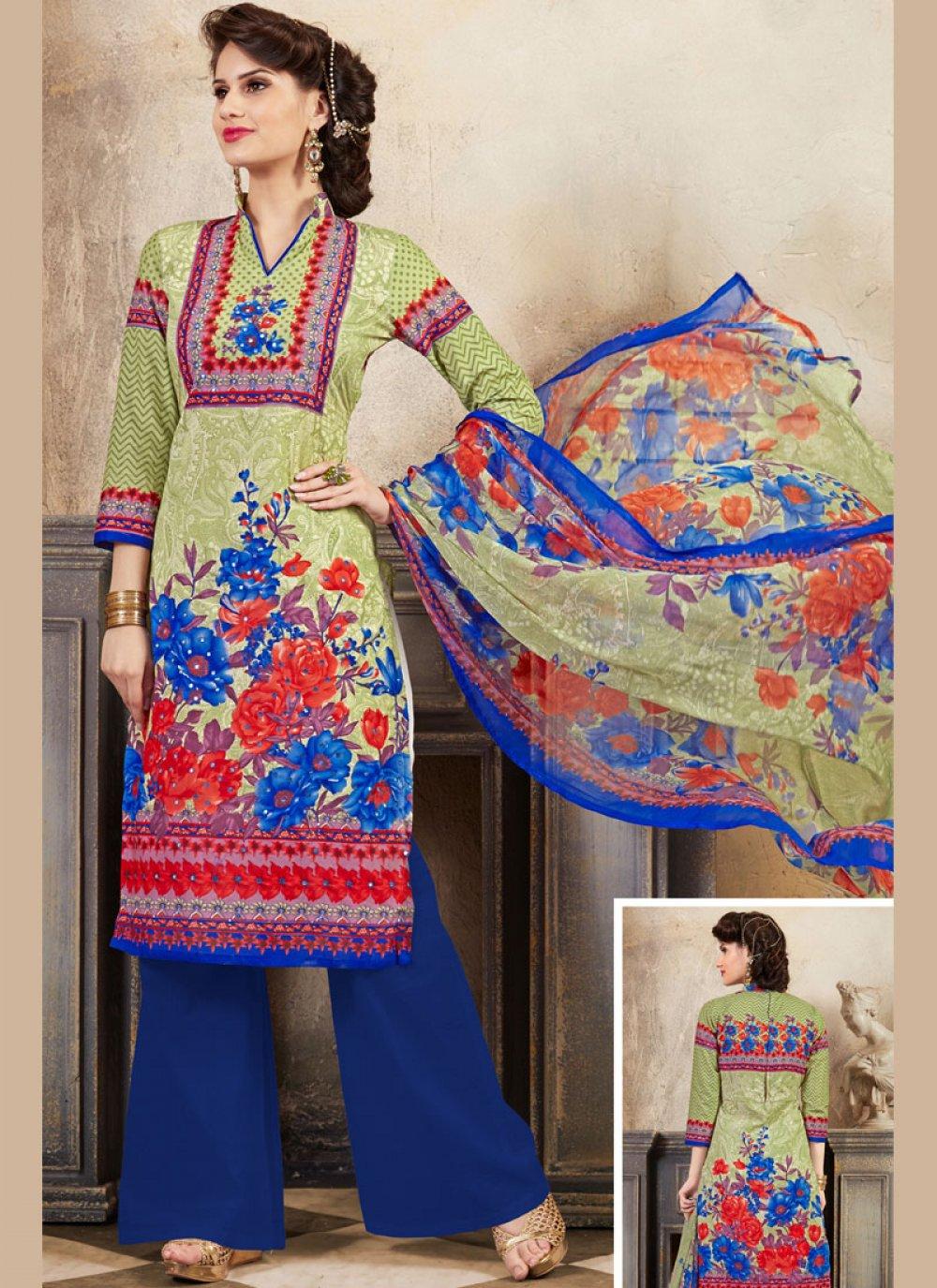 Green Thread Work Cotton Palazzo Suit