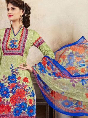 Green Thread Work Cotton Palazzo Suit