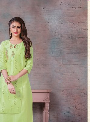 Green Thread Work Cotton Silk Designer Kurti