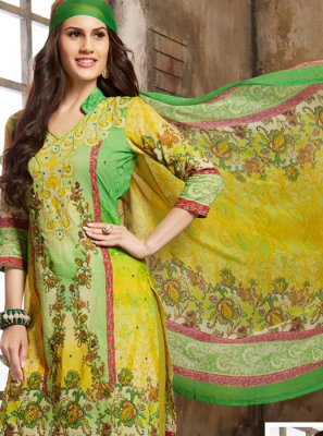 Green Thread Work Cotton Trendy Palazzo Salwar Kameez