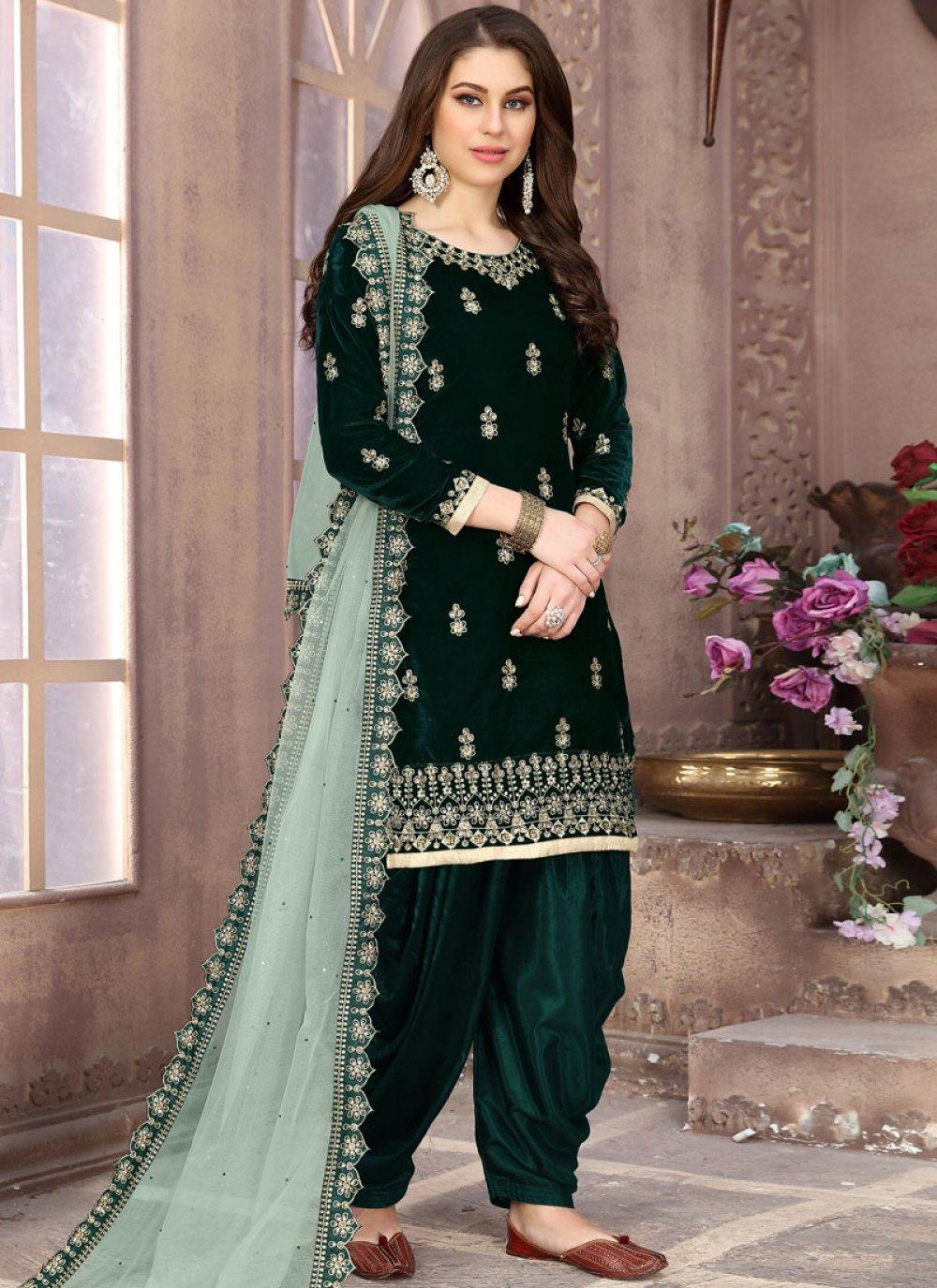 Green Velvet Designer Patiala Suit