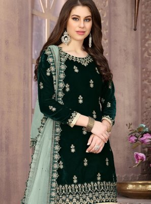 Green Velvet Designer Patiala Suit