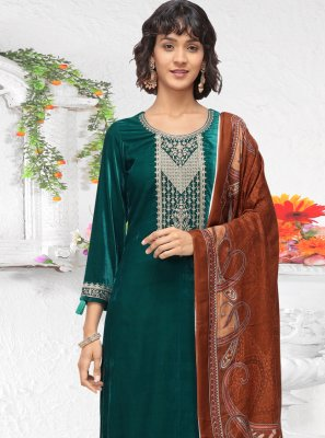 Green Velvet Embroidered Salwar Kameez