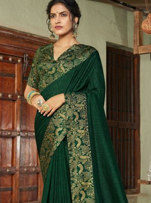 Green Weaving Art Silk Classic Saree