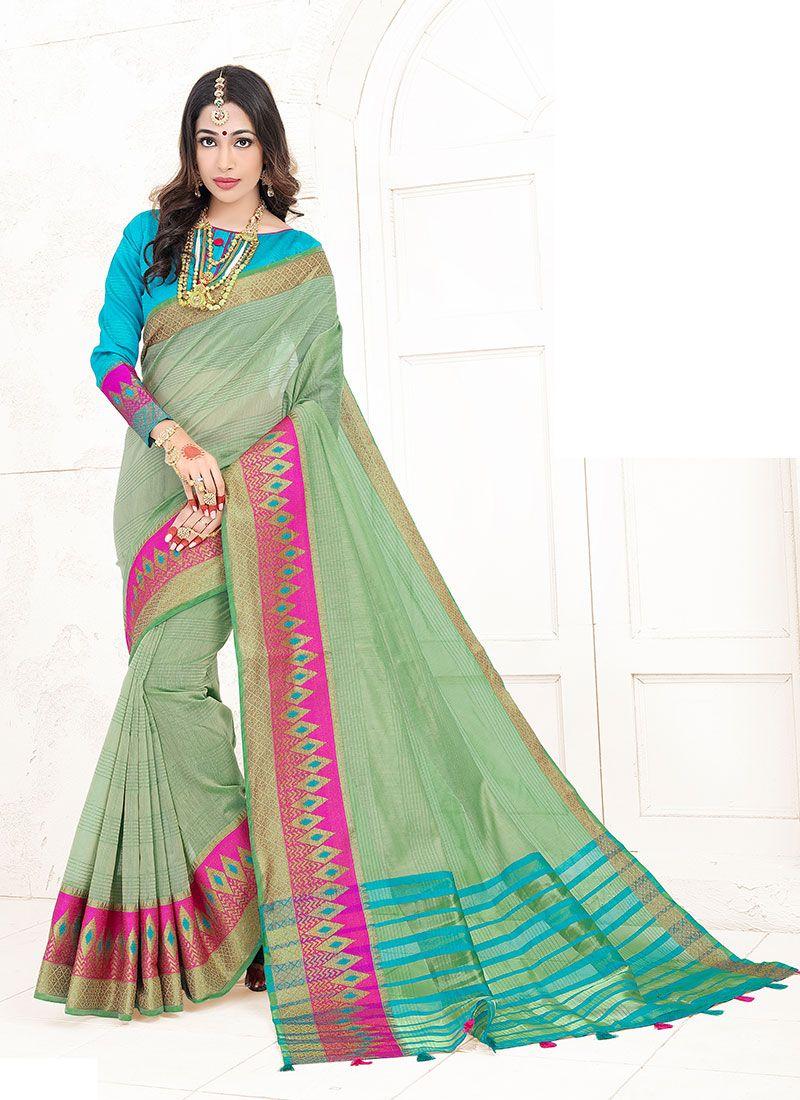 Green Weaving Art Silk Cotton Designer Traditional Saree