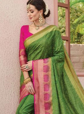 Green Weaving Art Silk Silk Saree