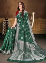 Green Weaving Banarasi Silk Contemporary Saree