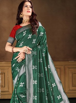 Green Weaving Banarasi Silk Contemporary Saree