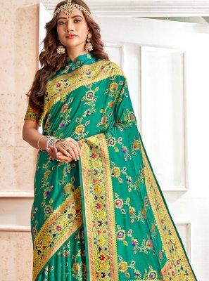 Green Weaving Banarasi Silk Traditional Saree