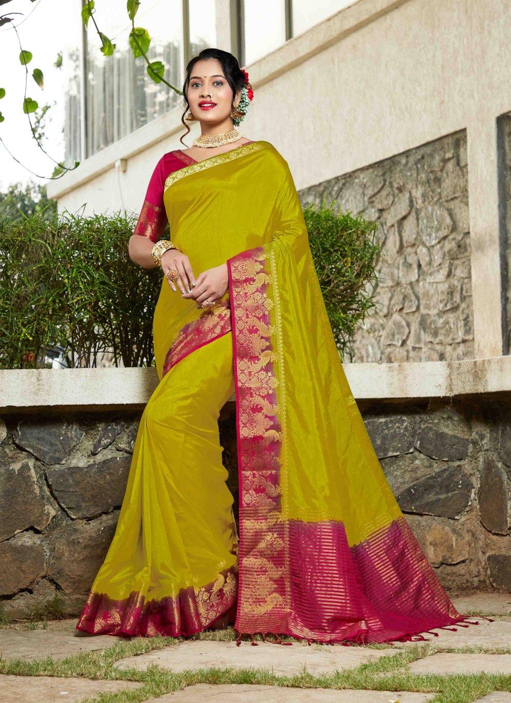 Green Weaving Ceremonial Silk Saree