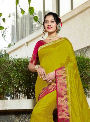 Green Weaving Ceremonial Silk Saree