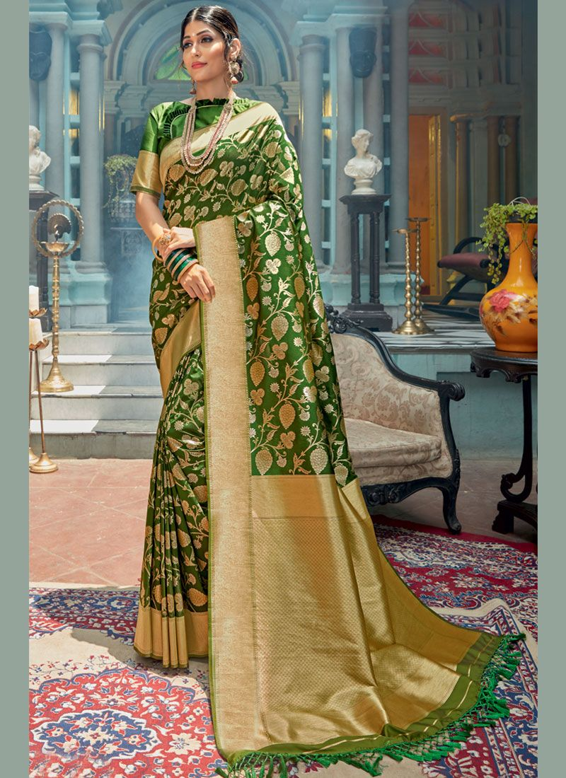 Green Weaving Classic Designer Saree