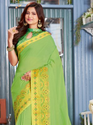 Green Weaving Contemporary Saree