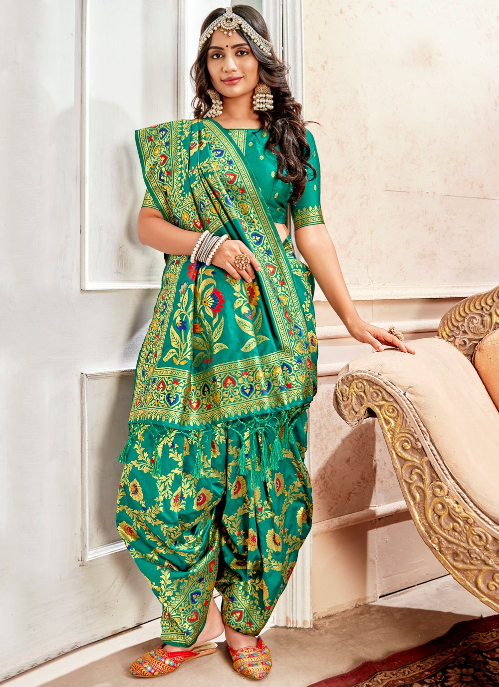 Green Weaving Different Style Saree