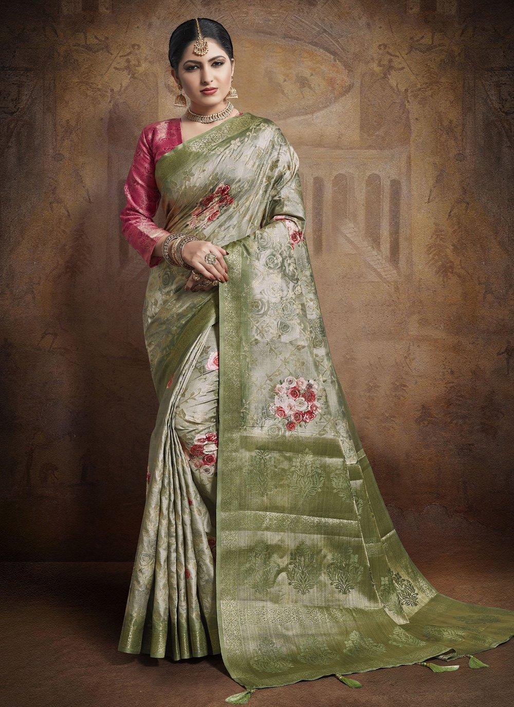 Green Weaving Engagement Classic Designer Saree