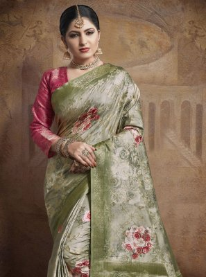 Green Weaving Engagement Classic Designer Saree