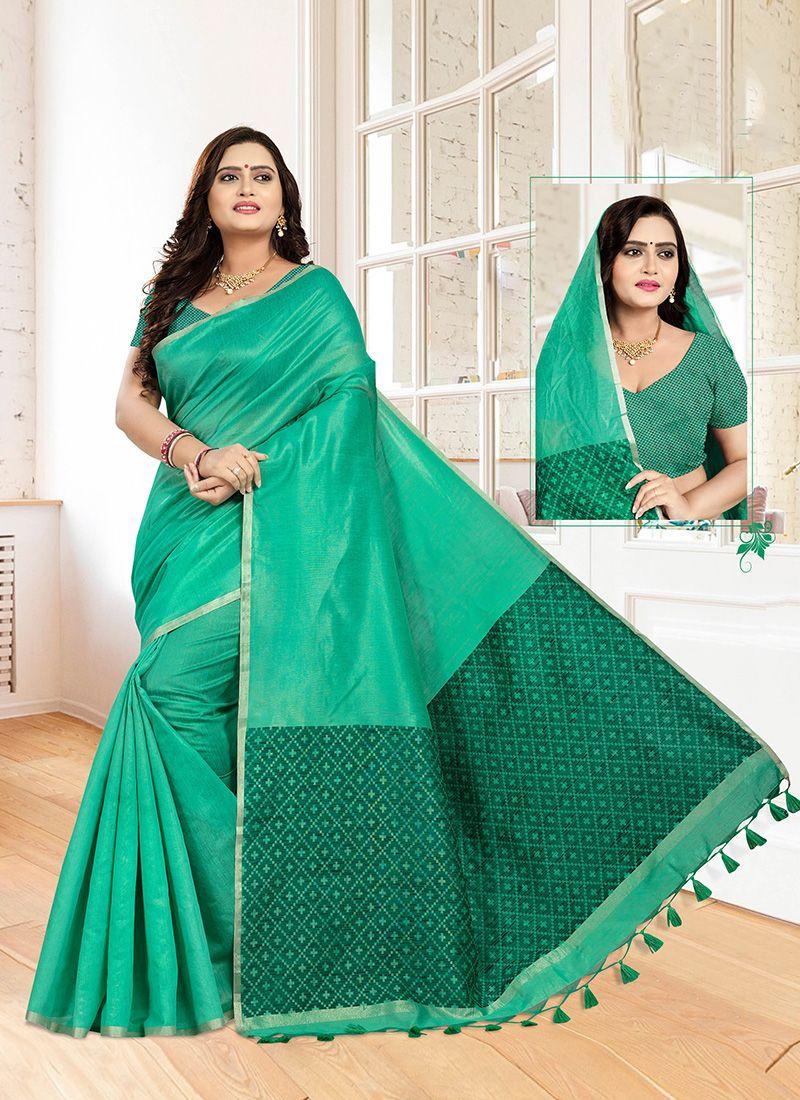Green Weaving Mehndi Designer Traditional Saree