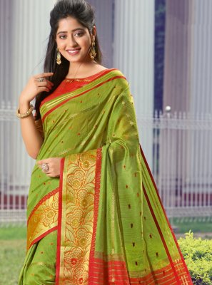 Green Weaving Party Contemporary Saree