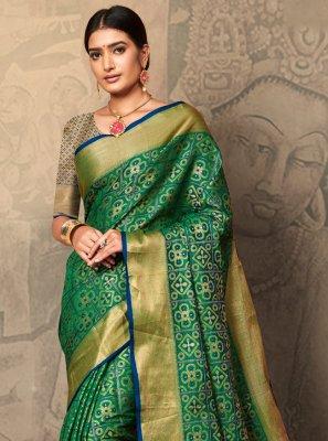 Green Weaving Silk Classic Saree
