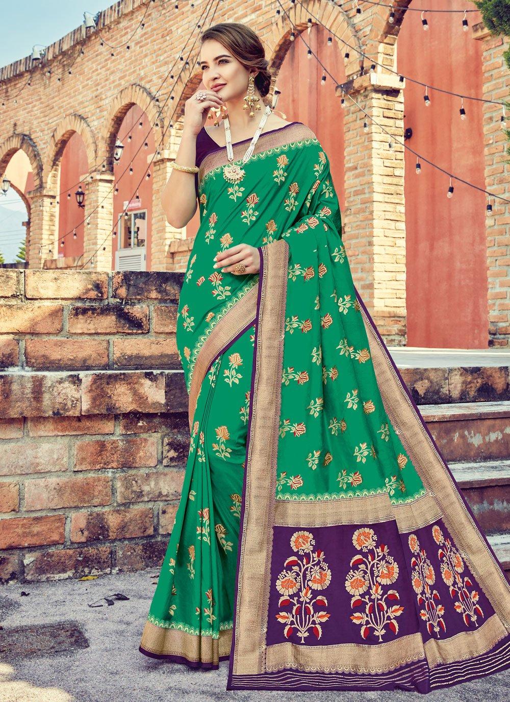 Green Weaving Silk Silk Saree