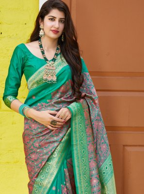 Green Weaving Silk Traditional Saree