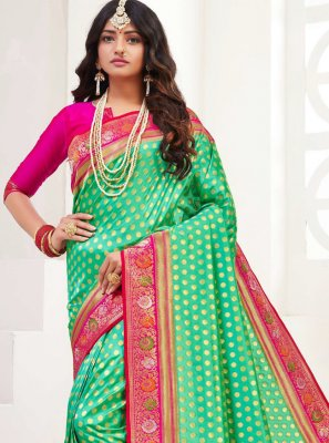 Green Weaving Silk Trendy Saree