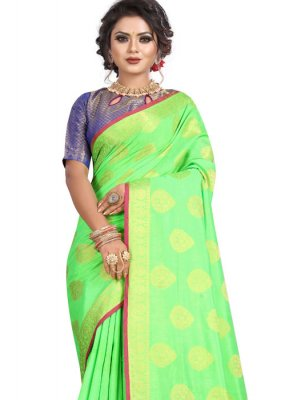 Green Weaving Tafeta Silk Classic Designer Saree
