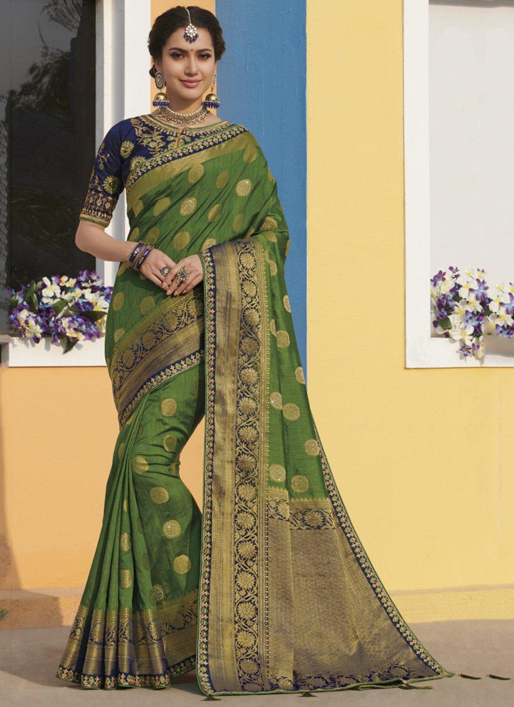 Green Weaving Trendy Saree