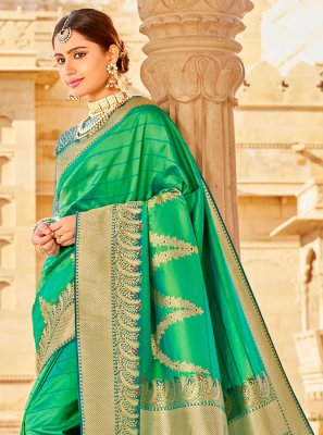 Green Weaving Wedding Classic Designer Saree
