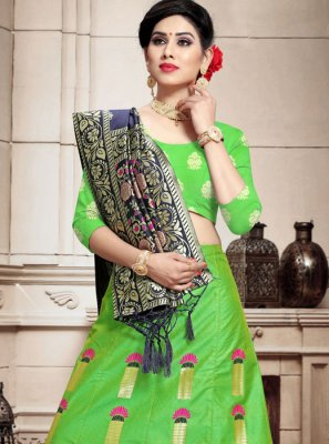 Green Wedding Banarasi Silk Lehenga Choli