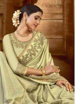 Green Wedding Satin Contemporary Saree