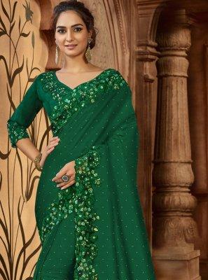 Green Wedding Satin Designer Saree