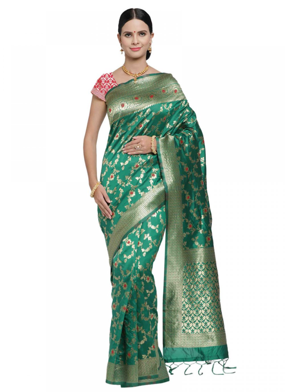 Green Woven Art Silk Classic Designer Saree