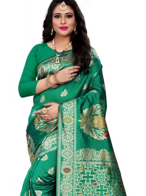 Green Woven Cotton Silk Traditional Saree