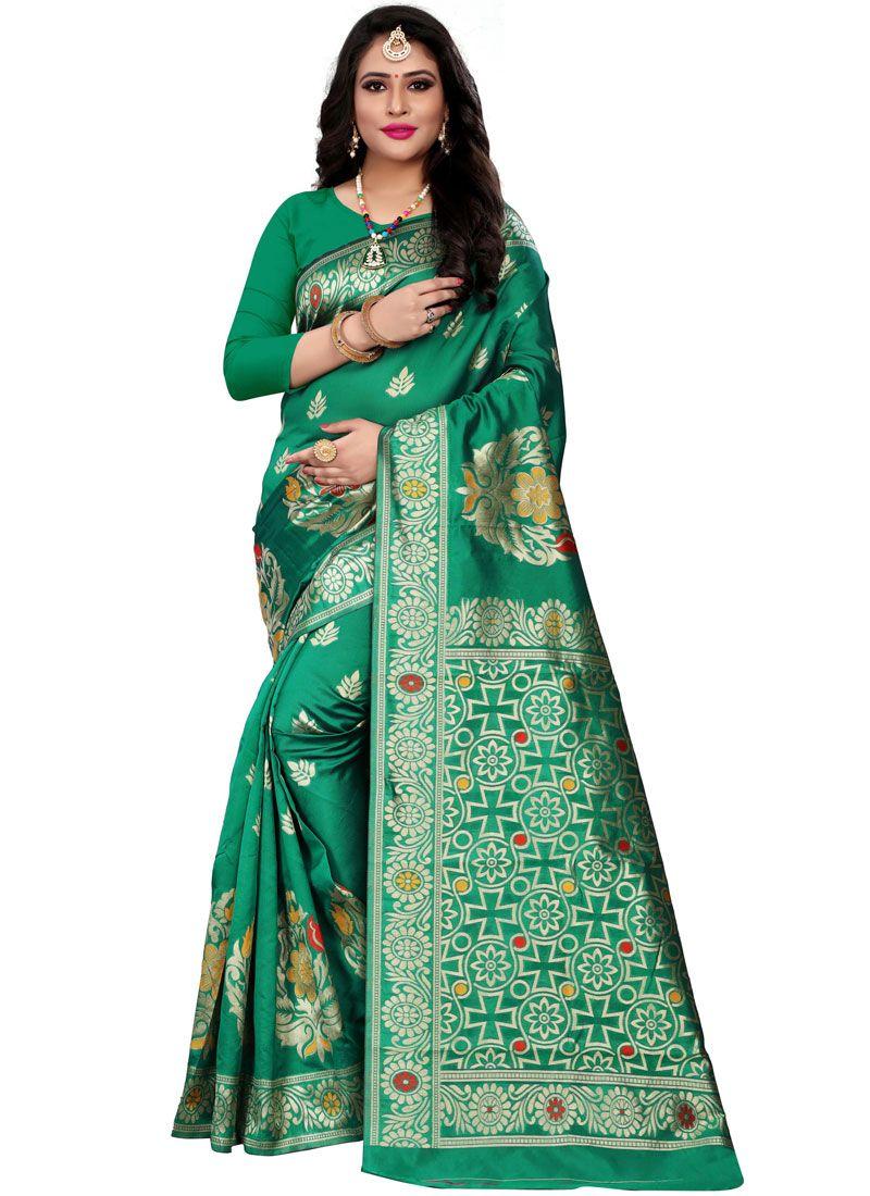 Green Woven Cotton Silk Traditional Saree