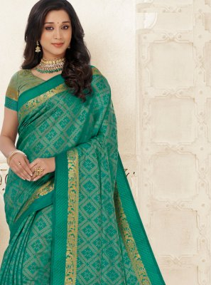 Green Woven Raw Silk Casual Saree