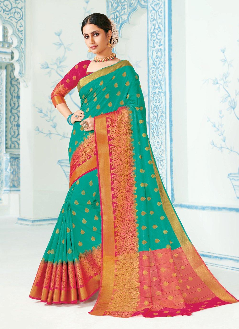 Green Woven Silk Contemporary Saree