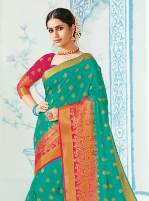 Green Woven Silk Contemporary Saree