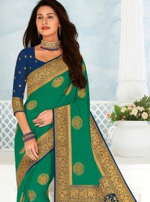 Green Woven Trendy Saree