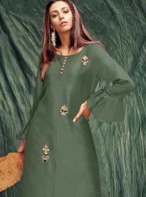 Green Zardosi Work Silk Casual Kurti