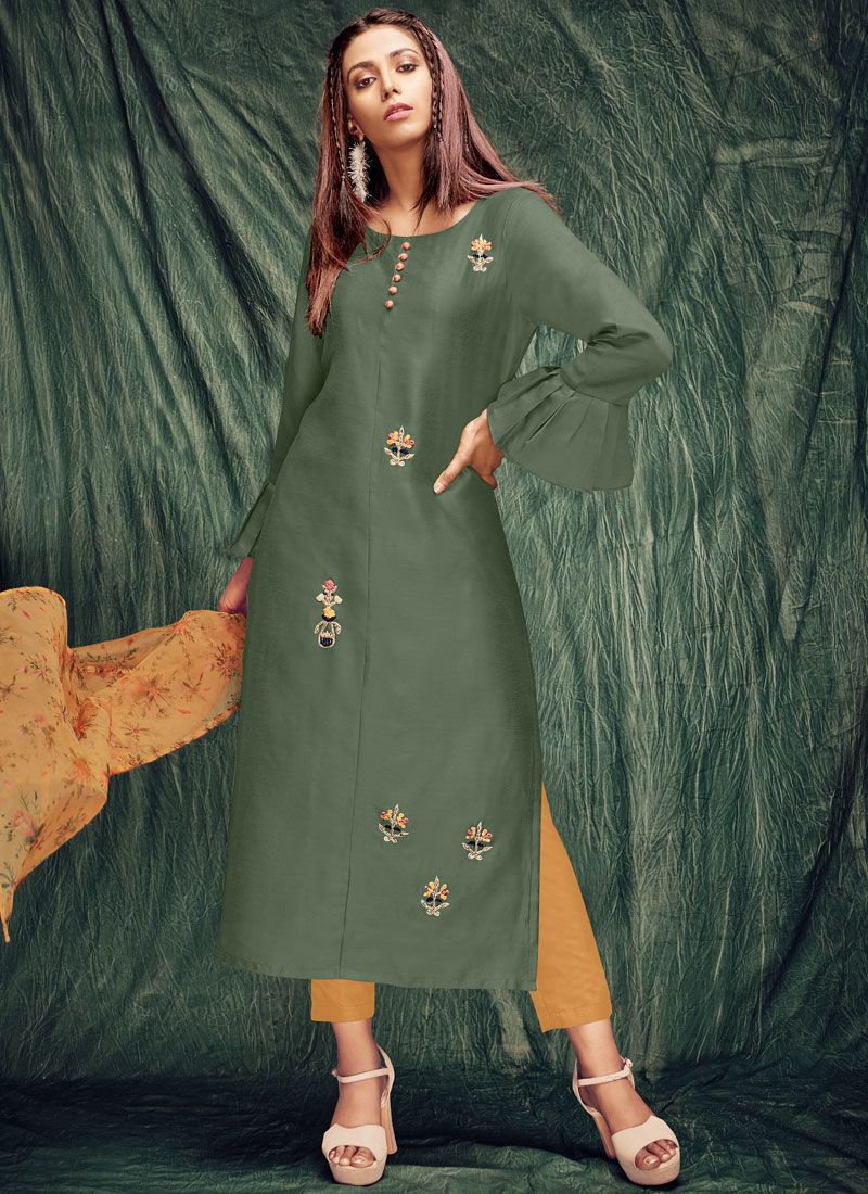 Green Zardosi Work Silk Casual Kurti