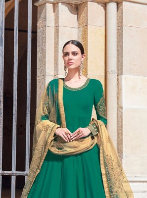 Green Zari Floor Length Suit