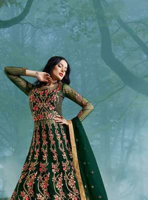 Green Zari Net Floor Length Anarkali Suit