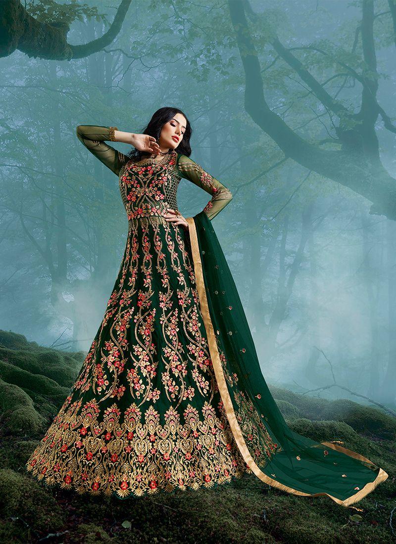 Green Zari Net Floor Length Anarkali Suit