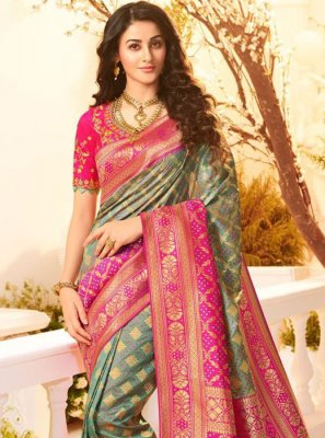 Grey and Hot Pink Festival Classic Saree