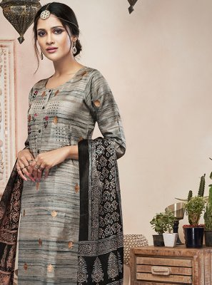 Grey and Multi Colour Art Silk Digital Print Ankle Length Kalidar Salwar Suit