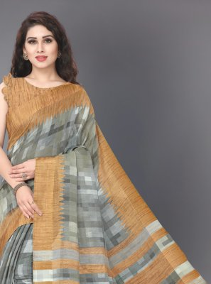 Grey and Mustard Festival Casual Saree